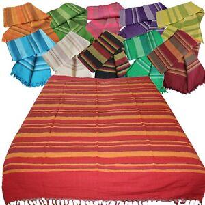Tagesdecke Nepal Bettüberwurf Baumwolle 210x240cm XL Indien Webdecke Fransen