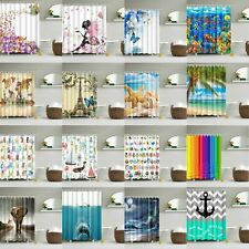 Shower Curtain Fabric White Grey Oriental 180 x180 Or Extra Long 180 x 200 Hooks