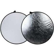 """43"""" /110cm Light Mulit Collapsible Disc Photography Round Reflector Silver/White"""