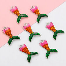 10Pcs Enamel Mermaid Fish Tail Charm Pendant DIY Fashion Jewelry Accessories