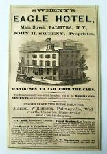 1867 New York Palmyra John Sweeny Eagle Hotel Main Street Advertisement Ad