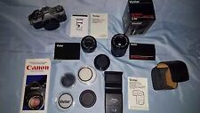 Canon AE-1  Film Camera with Flash Attachment LOADED WITH LENSES!!!!  MUST SEE!!