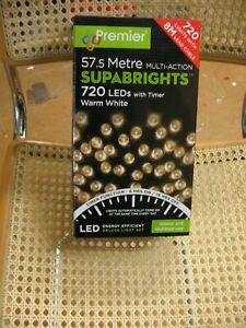 57.5m 720 Led Warm White Garden/Fairy Lights With Timer