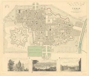 TURIN TORINO.Antique town city map plan.Panorama.Superga.Royal Palace.SDUK 1844