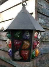 Arts And Crafts Style Rock Glass Light Lantern Hall Lamp Similar To Peter Marsh