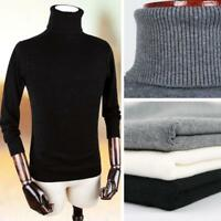 Men's Knitted Turtle Neck Pullover Sweater Jumper Casual Slim Knitting Tops Chic