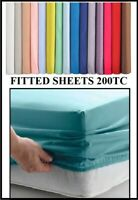 "3' SINGLE FITTED Sheet 3' X 6'3  (36"" X 75"") OVER 20 COLOURS 200TC"