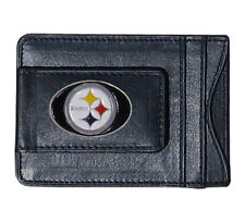 Pittsburgh Steelers NFL Football Team Leather Card Holder Money Clip Wallet