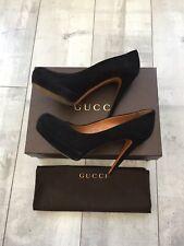 Ladies Gucci Shoes Suede Black Kid Scamosciato 269702 C2000 Size 39 1/2 RRP 729£
