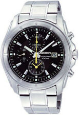 SEIKO SNDB69 SNDB69P1 Mens Chronograph Black Dial Yellow Hands Steel 100m Watch