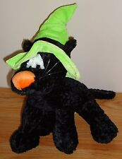 "Halloween Black Cat w/Green Witch's Hat 12"" stuffed plush by Snuggie Toy"
