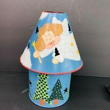 "Christmas Metal Angel Lamp Shade Candle Holder Set Noel 4"" Jar Flameless Ganz"