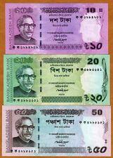 SET, Bangladesh, 10, 20, 50 taka, 2011-2012, P-New, UNC