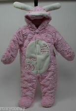 Babies R Us Pink Bunny Faux Fur Fleece Pram Snowsuit Size 6 months NWT