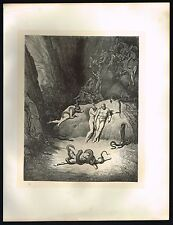 1860s BIG Original Antique Agnello Serpent Snake Hell Dore Art Engraving Print