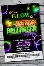 GLOW IN THE DARK Halloween Party Invitation Ticket NEON Birthday Costume Disco