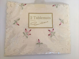 2 Peggy Wilkins Vintage Style Cream Embroidered Tablemats Flowers SUMMER ROSE
