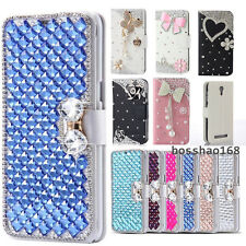 Bling Crystal Diamonds Bow PU leather flip slots stand wallet cover case skin H4