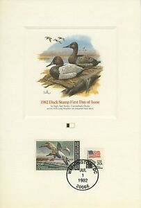 1982 Duck Stamp RW49 Day Of Issue ProofCard Canvasback Ducks by Don Balke