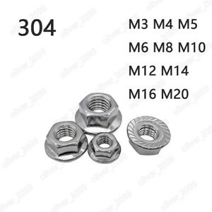 304 Stainless Steel Hex Flange Nuts Serrated Lock Nut M3 M4 M5 M6 M8 M10 M12 M20