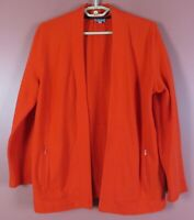 TB09249- TALBOTS Women's Soft Comfy Cotton Open Front Jacket Pocket Tomato Red M