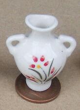 1.12 Blanc & Rouge Vase Céramique Maison De Poupées Miniature Accessoire Ornement Fleur R6