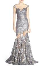 JOVANI Silver Grey Sequin Sheer Illusion Lace Sweetheart Mermaid Dress Gown 2 US