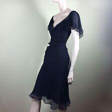 Catherine Malandrino vestido chiffon seda s 36 negro seda fiesta French Chic