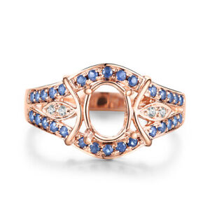 Solid 14k Rose Gold Oval 5x7mm Natural Diamonds Sapphires Gemstone Ring Jewelry