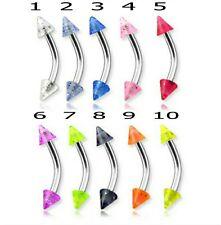 Eyebrow Bars 5 UV Colour Glitter Spike Barbells Earring Tragus Body Piercing 16g