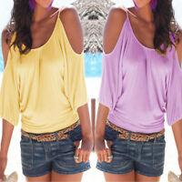 Women Summer Short Sleeve Cold Shoulder Loose Casual T-Shirt Blouse Tops Blouse