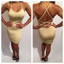 Connie's Super Sexy Semi Sheer Ultimate Backless Tan Nude Tank Dress M