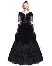 Punk Rave Gothic Prom Dress Black Velvet Lace Long Steampunk Victorian Wedding