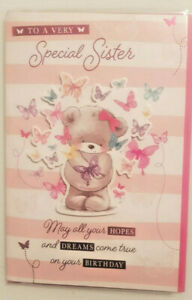 SISTER BIRTHDAY CARD  LARGE STUNNING CUTE BEAR EMBOSSED FRONT & BUTTERFLIES