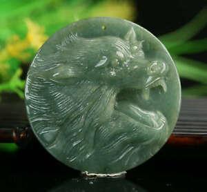 Cert'd Untreated Green Nature Grade A Jadeite Jade Pendant wolf a30581281