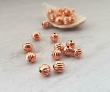 6mm Copper Melon Beads | Pack of 25 | Corrugated Round Genuine Copper Beads