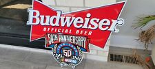 New listing Budweiser Beer Nascar 50th Anniversary Embossed Metal Tin Bar Sign 1948-1998