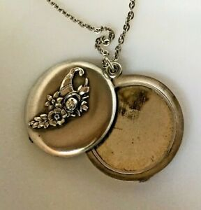 Victorian Silver Plate Chatelaine Slide Mirror on Chain Floral Necklace Locket