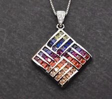 Sterling Silver MultiColor Rainbow Princess Sapphire Pendant Rhombus Necklace