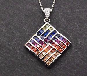 Sterling Silver MultiColor Rainbow Princess Sapphire Pendant Rhombus Necklace