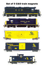 Chesapeake & Ohio Locomotives, Freight Cars, Caboose set 5 magnets Andy Fletcher