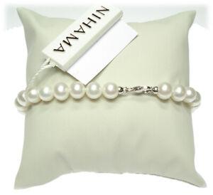 Bracciale Perle 6,5/7 oro bianco gancio piccolo con coppette - Nihama