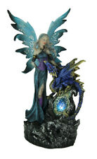 Sapphire Blue Fairy And Dragon LED Lighted Geode Statue