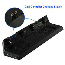 UK Dual Charging Dock With USB HUB Ports PS4 Cooling Stand Fan For PlayStation 4