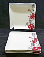 Coventry China Bloomaline Red Square Salad Plates x4 Red Flowers Black Leaves