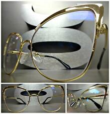 EXAGGERATED VINTAGE 60's RETRO CAT EYE Style Clear Lens EYE GLASSES Gold Frame