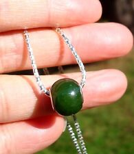 "Canadian Top Grade Jade Pandora Bead Pendant With Italian 18"" S Silver Chain"