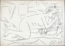 Pericle FAZZINI 1967  rara   litografia originale - Nudo disteso -