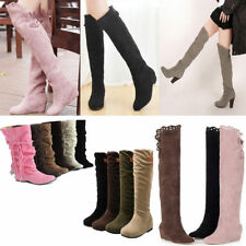 Women Boots Winter Ladies Over The Knee Thigh High Flat Slouch Faux Suede Shoes