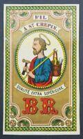 Ancienne étiquette FIL DE LIN A SAINT CREPIN BR ca 1870 french thread label 2
